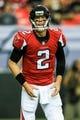 Sep 15, 2013; Atlanta, GA, USA; Atlanta Falcons quarterback Matt Ryan (2) in the game against the St. Louis Rams at the Georgia Dome. The Falcons won 31-24. Mandatory Credit: Daniel Shirey-USA TODAY Sports