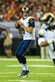 Sep 15, 2013; Atlanta, GA, USA; St. Louis Rams quarterback Sam Bradford (8) drops back to pass in the game against the Atlanta Falcons at the Georgia Dome. The Falcons won 31-24. Mandatory Credit: Daniel Shirey-USA TODAY Sports