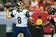 Sep 15, 2013; Atlanta, GA, USA; St. Louis Rams quarterback Sam Bradford (8) throws a pass in the game against the Atlanta Falcons at the Georgia Dome. The Falcons won 31-24. Mandatory Credit: Daniel Shirey-USA TODAY Sports