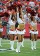 Sep 15, 2013; Kansas City, MO, USA; Kansas City Chiefs cheerleaders perform before the game with the Dallas Cowboys at Arrowhead Stadium. Kansas City won the game 17-16. Mandatory Credit: John Rieger-USA TODAY Sports
