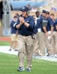 Sep 21, 2013; Durham, NC, USA;  Pitt Panthers head coach Paul Chryst applauds his team during a game against the Duke Blue Devils at Wallace Wade Stadium. Mandatory Credit: Rob Kinnan-USA TODAY Sports