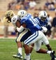 Sep 21, 2013; Durham, NC, USA;  Pitt Panthers running back James Conner (40) is tackled by Duke Blue Devils safety Jeremy Cash (16) during the first half at Wallace Wade Stadium. Mandatory Credit: Rob Kinnan-USA TODAY Sports