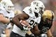 Sep 21, 2013; West Point, NY, USA;  Wake Forest Demon Deacons running back Josh Harris (25) runs with the ball during the first half at Michie Stadium. Mandatory Credit: Danny Wild-USA TODAY Sports