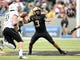 Sep 21, 2013; West Point, NY, USA;  Army Black Knights quarterback Angel Santiago (3) looks to pass during the first half against the Wake Forest Demon Deacons at Michie Stadium. Mandatory Credit: Danny Wild-USA TODAY Sports