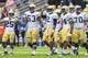 Sep 21, 2013; Atlanta, GA, USA; Georgia Tech Yellow Jackets quarterback Vad Lee (2) celebrates a first down late in the second half against the North Carolina Tar Heels at Bobby Dodd Stadium. Georgia Tech won 28-20. Mandatory Credit: Daniel Shirey-USA TODAY Sports