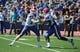 Sep 21, 2013; Lawrence, KS, USA; Louisiana Tech Bulldogs quarterback Ryan Higgins (14) hands off to running back Kenneth Dixon (28) against the Kansas Jayhawks in the second half at Memorial Stadium. Kansas won 13-10. Mandatory Credit: John Rieger-USA TODAY Sports