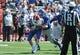 Sep 21, 2013; Lawrence, KS, USA; Kansas Jayhawks defensive lineman Kevin Young (90) sacks Louisiana Tech Bulldogs quarterback Ryan Higgins (14) in the second half at Memorial Stadium. Kansas won 13-10. Mandatory Credit: John Rieger-USA TODAY Sports