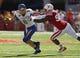 Sep 21, 2013; Lincoln, NE, USA; Nebraska Cornhuskers defender Avery Moss (94) sacks South Dakota State Jackrabbits quarterback Austin Sumner (6) in the first quarter at Memorial Stadium. Mandatory Credit: Bruce Thorson-USA TODAY Sports
