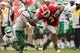 Sep 21, 2013; Athens, GA, USA; Georgia Bulldogs running back Todd Gurley (3) breaks a tackle by North Texas Mean Green linebacker Derek Akunne (7) during the second half at Sanford Stadium. Georgia defeated North Texas 45-21. Mandatory Credit: Dale Zanine-USA TODAY Sports