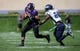 Sep 21, 2013; Evanston, IL, USA; Northwestern Wildcats wide receiver Tony Jones (6) runs past Maine Black Bears defensive back Khari Al-Mateen (24) during the first quarter at Ryan Field.  Mandatory Credit: Jerry Lai-USA TODAY Sports