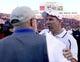 Sep 21, 2013; Lincoln, NE, USA; Nebraska Cornhuskers head coach Bo Pelini greets South Dakota State Jackrabbits head coach John Stiegelmeier at the end of the game at Memorial Stadium. Nebraska won 59-20. Mandatory Credit: Bruce Thorson-USA TODAY Sports