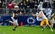Sep 21, 2013; University Park, PA, USA; Penn State Nittany Lions safety Ryan Keiser (23) intercepts a pass intended for Kent State Golden Flashes wide receiver Chris Humphrey (6) at Beaver Stadium. Mandatory Credit: Evan Habeeb-USA TODAY Sports