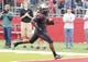Sep 21, 2013; Piscataway, NJ, USA;  Rutgers Scarlet Knights  Janarion Grant (1) crosses goal line with third quarter touchdown after returning an Arkansas Razorbacks punt at High Points Solutions Stadium. Rutgers won 28-24. Mandatory Credit: Jim O'Connor-USA TODAY Sports