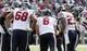Sep 22, 2013; Baltimore, MD, USA; Houston Texans quarterback Matt Schaub (8) leads the offensive huddle against the Baltimore Ravens at M&T Bank Stadium. Mandatory Credit: Mitch Stringer-USA TODAY Sports