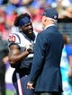 Sep 22, 2013; Baltimore, MD, USA; Houston Texans safety Ed Reed (left) talks to owner Bob McNair (right) prior to the game against the Baltimore Ravens at M&T Bank Stadium. Mandatory Credit: Evan Habeeb-USA TODAY Sports
