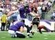 Sep 22, 2013; Baltimore, MD, USA; Baltimore Ravens kicker Justin Tucker (9) kicks a 28 yard field goal in the second quarter against the Houston Texans at M&T Bank Stadium. Mandatory Credit: Evan Habeeb-USA TODAY Sports