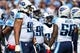 Sep 22, 2013; Nashville, TN, USA; The Tennessee Titans defensive squad huddles during a time out against the San Diego Chargers during the second half at LP Field. The Titans beat the Chargers 20-17. Mandatory Credit: Don McPeak-USA TODAY Sports