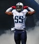 Sep 22, 2013; Nashville, TN, USA; Tennessee Titans linebacker Zach Brown (55) enters the field before a game against the San Diego Chargers at LP Field. The Titans beat the Chargers 20-17. Mandatory Credit: Don McPeak-USA TODAY Sports