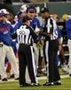 Sep 22, 2013; East Rutherford, NJ, USA; Buffalo Bills head coach Doug Marrone talks with officials during the game against the New York Jets at MetLife Stadium. Mandatory Credit: Robert Deutsch-USA TODAY Sports