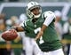 Sep 22, 2013; East Rutherford, NJ, USA; New York Jets quarterback Geno Smith (7) throws a pass before the game against the Buffalo Bills  at MetLife Stadium. Mandatory Credit: Robert Deutsch-USA TODAY Sports