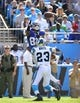 Sep 22, 2013; Charlotte, NC, USA; New York Giants wide receiver Rueben Randle (82) attempts to catch the ball as Carolina Panthers cornerback Melvin White (23) defend in the third quarter. The Carolina Panthers defeated the New York Giants 38-0 at Bank of America Stadium. Mandatory Credit: Bob Donnan-USA TODAY Sports