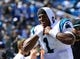 Sep 22, 2013; Charlotte, NC, USA; Carolina Panthers quarterback Cam Newton (1) on the sidelines late in the fourth quarter. The Carolina Panthers defeated the New York Giants 38-0 at Bank of America Stadium. Mandatory Credit: Bob Donnan-USA TODAY Sports