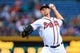 Sep 23, 2013; Atlanta, GA, USA; Atlanta Braves starting pitcher Mike Minor (36) pitches in the first inning against the Milwaukee Brewers at Turner Field. Mandatory Credit: Daniel Shirey-USA TODAY Sports