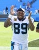 Sep 22, 2013; Charlotte, NC, USA; Carolina Panthers wide receiver Steve Smith (89) reacts as he leaves the field after the game. The Carolina Panthers defeated the New York Giants 38-0 at Bank of America Stadium. Mandatory Credit: Bob Donnan-USA TODAY Sports