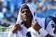 Sep 22, 2013; Charlotte, NC, USA; Carolina Panthers quarterback Cam Newton (1) on the sidelines in the fourth quarter. The Carolina Panthers defeated the New York Giants 38-0 at Bank of America Stadium. Mandatory Credit: Bob Donnan-USA TODAY Sports