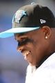 Sep 22, 2013; Charlotte, NC, USA; Carolina Panthers wide receiver Ted Ginn (19) on the sidelines in the fourth quarter. The Carolina Panthers defeated the New York Giants 38-0 at Bank of America Stadium. Mandatory Credit: Bob Donnan-USA TODAY Sports