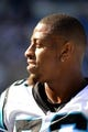 Sep 22, 2013; Charlotte, NC, USA; Carolina Panthers defensive end Greg Hardy (76) on the sidelines in the fourth quarter. The Carolina Panthers defeated the New York Giants 38-0 at Bank of America Stadium. Mandatory Credit: Bob Donnan-USA TODAY Sports