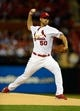 Sep 23, 2013; St. Louis, MO, USA; St. Louis Cardinals starting pitcher Adam Wainwright (50) throws to a Washington Nationals batter during the first inning at Busch Stadium. St. Louis defeated Washington 4-3. Mandatory Credit: Jeff Curry-USA TODAY Sports