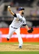Sep 23, 2013; San Diego, CA, USA; San Diego Padres relief pitcher Nick Vincent (50) throws during the seventh inning against the Arizona Diamondbacks at Petco Park. Mandatory Credit: Christopher Hanewinckel-USA TODAY Sports