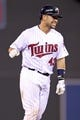 Sep 23, 2013; Minneapolis, MN, USA; Minnesota Twins catcher Josmil Pinto (43) smiles after hitting a walk-off RBI single during the eleventh inning against the Detroit Tigers at Target Field. The Twins defeated the Tigers 4-3. Mandatory Credit: Brace Hemmelgarn-USA TODAY Sports