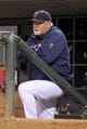 Sep 23, 2013; Minneapolis, MN, USA; Minnesota Twins manager Ron Gardenhire (35) looks on during the fourth inning against the Minnesota Twins at Target Field. The Twins defeated the Tigers 4-3. Mandatory Credit: Brace Hemmelgarn-USA TODAY Sports