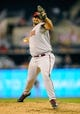 Sep 23, 2013; San Diego, CA, USA; Arizona Diamondbacks relief pitcher Heath Bell (21) throws during the seventh inning against the San Diego Padres at Petco Park. Mandatory Credit: Christopher Hanewinckel-USA TODAY Sports