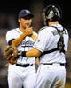 Sep 23, 2013; San Diego, CA, USA; San Diego Padres relief pitcher Huston Street (16) celebrates with catcher Nick Hundley (4) after a win against the Arizona Diamondbacks at Petco Park. The Padres won 4-1. Mandatory Credit: Christopher Hanewinckel-USA TODAY Sports