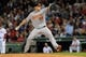 Sep 17, 2013; Boston, MA, USA; Baltimore Orioles starting pitcher Scott Feldman (34) pitches during the third inning against the Boston Red Sox at Fenway Park. Mandatory Credit: Bob DeChiara-USA TODAY Sports