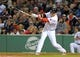 Sep 17, 2013; Boston, MA, USA; Boston Red Sox left fielder Mike Carp (37) bats during the ninth inning against the Baltimore Orioles at Fenway Park. Mandatory Credit: Bob DeChiara-USA TODAY Sports