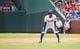 Sep 15, 2013; Arlington, TX, USA; Texas Rangers second baseman Jurickson Profar (13) leads off first base during the game against the Oakland Athletics at Rangers Ballpark in Arlington. Oakland won 5-1. Mandatory Credit: Kevin Jairaj-USA TODAY Sports