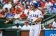 Sep 15, 2013; Arlington, TX, USA; Texas Rangers shortstop Adam Rosales (9) bats during the game against the Oakland Athletics at Rangers Ballpark in Arlington. Oakland won 5-1. Mandatory Credit: Kevin Jairaj-USA TODAY Sports