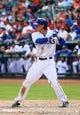 Sep 15, 2013; Arlington, TX, USA; Texas Rangers first baseman Jim Adduci (35) bats during the game against the Oakland Athletics at Rangers Ballpark in Arlington. Oakland won 5-1. Mandatory Credit: Kevin Jairaj-USA TODAY Sports