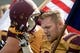Sep 21, 2013; Mount Pleasant, MI, USA; Central Michigan Chippewas fullback Tyler Lombardo (42) before the game against the Toledo Rockets at Kelly/Shorts Stadium. Rockets beat the Chippewas 38-17. Mandatory Credit: Raj Mehta-USA TODAY Sports