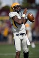 Sep 21, 2013; Mount Pleasant, MI, USA; Toledo Rockets quarterback Terrance Owens (2) warms up before the game against the Central Michigan Chippewas at Kelly/Shorts Stadium. Mandatory Credit: Raj Mehta-USA TODAY Sports