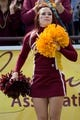Sep 21, 2013; Mount Pleasant, MI, USA; Central Michigan Chippewas cheerleader performs before the game against the Toledo Rockets at Kelly/Shorts Stadium. Rockets beat the Chippewas 38-17. Mandatory Credit: Raj Mehta-USA TODAY Sports
