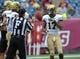 Sep 21, 2013; Foxborough, MA, USA; Vanderbilt Commodores wide receiver Jonathan Krause (17) tosses the ball to the field judge during the first half against the Massachusetts Minutemen at Gillette Stadium. Mandatory Credit: Bob DeChiara-USA TODAY Sports