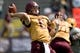 Sep 21, 2013; Mount Pleasant, MI, USA; Central Michigan Chippewas quarterback Cooper Rush (10) throws the ball against the Toledo Rockets during the second quarter at Kelly/Shorts Stadium. Rockets beat the Chippewas 38-17. Mandatory Credit: Raj Mehta-USA TODAY Sports