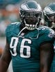 Aug 24, 2013; Jacksonville, FL, USA; Philadelphia Eagles defensive tackle Bennie Logan (96) prior to the start of their game against the Jacksonville Jaguars at EverBank Field. The Philadelphia Eagles beat the Jacksonville Jaguars 31-24. Mandatory Credit: Phil Sears-USA TODAY Sports