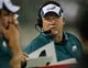 Aug 24, 2013; Jacksonville, FL, USA; Philadelphia Eagles outside linebackers coach Bill McGovern in the second quarter of their game against the Jacksonville Jaguars at EverBank Field. The Philadelphia Eagles beat the Jacksonville Jaguars 31-24. Mandatory Credit: Phil Sears-USA TODAY Sports