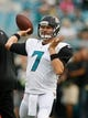 Aug 24, 2013; Jacksonville, FL, USA; Jacksonville Jaguars quarterback Chad Henne (7) throws prior to the start of their game against the Philadelphia Eagles at EverBank Field. The Philadelphia Eagles beat the Jacksonville Jaguars 31-24. Mandatory Credit: Phil Sears-USA TODAY Sports